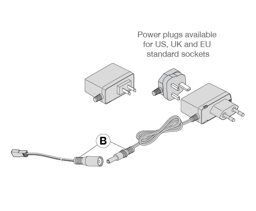 Power plugs US, UK, EU for ST, XD and Mecano LED light bars